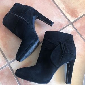 Gianni Bini Black Suede Booties with Side Bow